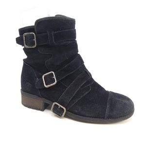 UGG Finney Stout Black Suede Moto Ankle Boots